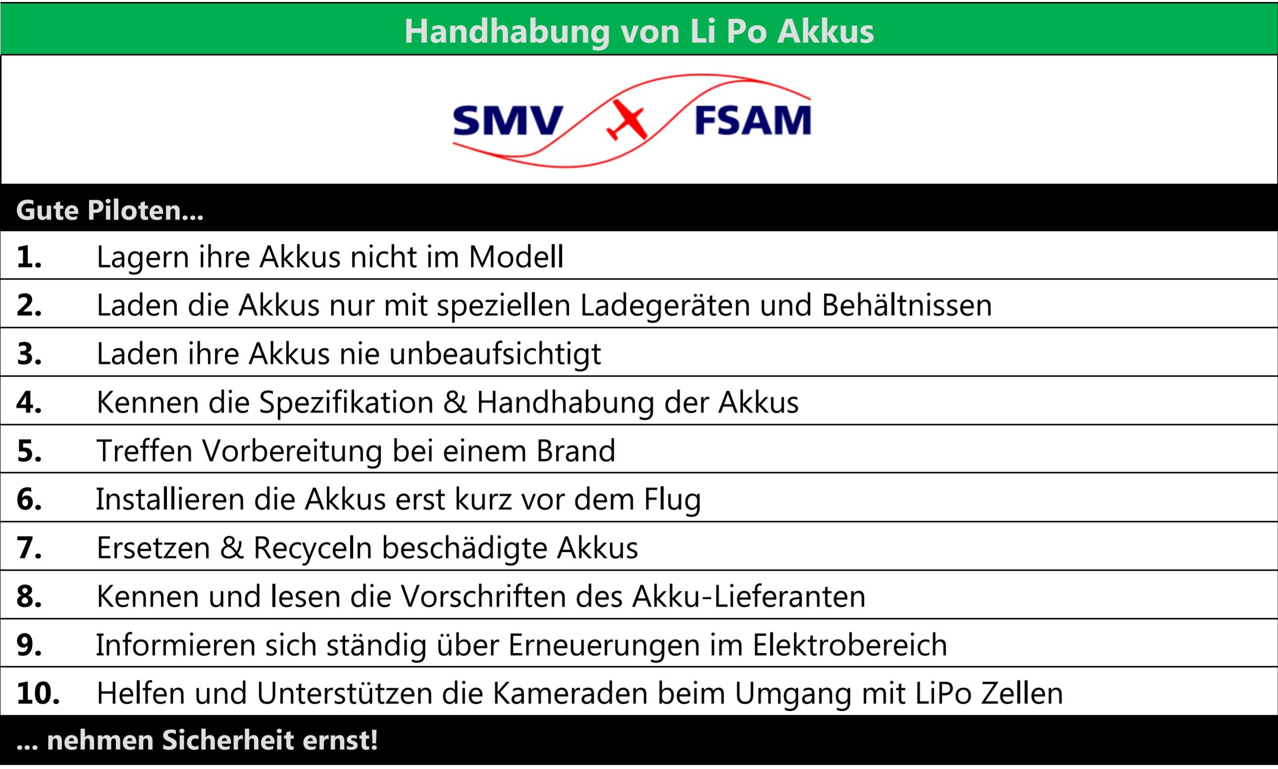Checkliste Handhabung von Li Po Akkus im Modellflug